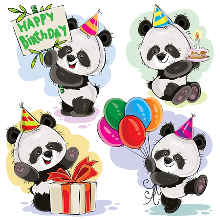 day: Cute panda bears baby cartoon characters celebrating birthday with cake, balloons and present in box vector illustration set isolated on white background for greeting card, birthday party invitation
