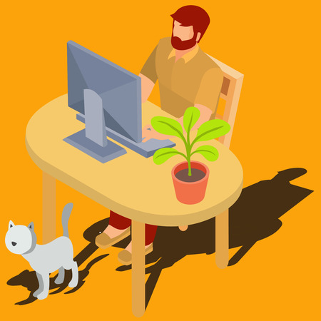 device: Bearded red-head man working on computer while sitting at desk with  flowerpot and walking around cat isometric 3d vector illustration. Male user browsing Internet at home, buying goods. study online