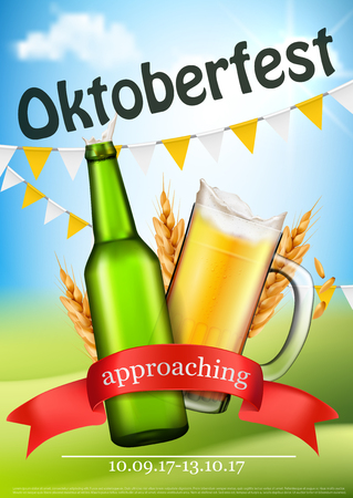 event party: Approaching Oktoberfest promo poster, flyer or invitation with opened bottle, splashing from glass pint beer, barley ears and event date realistic vector illustration. German beer festival banner