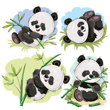Bébé ours panda drôle jouant sur l'herbe