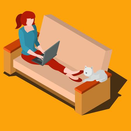 designer: Woman sitting on the sofa working Illustration