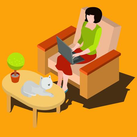 designer: Woman sitting on the armchair working Illustration