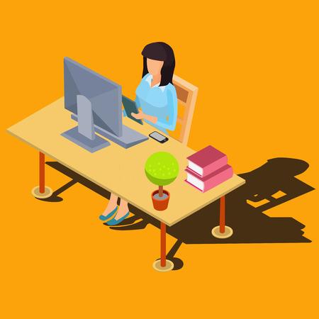 designer: Woman sitting at desk working