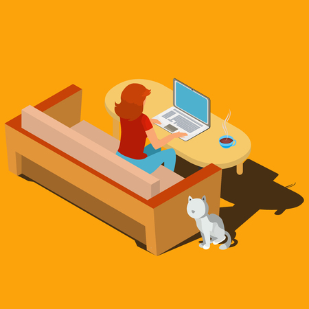 designer: Woman sitting on the sofa at desk working