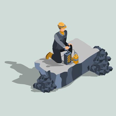 Explosives worker, ordnance handling expert, constriction or quarry   blaster in protective helmet, standing on a knee near remote control dynamite detonator isometric projection vector illustration Illustration
