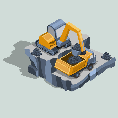 Mining excavator loads coal in a dump truck, mining equipment, quarry industrial machines and factory isometric projection isolated vector illustration