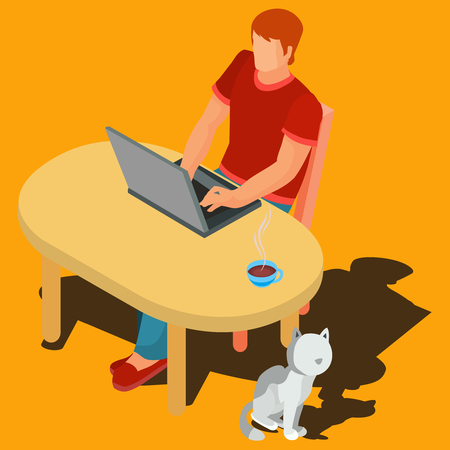 Vector illustration of a freelance worker working on the side in a flat style.