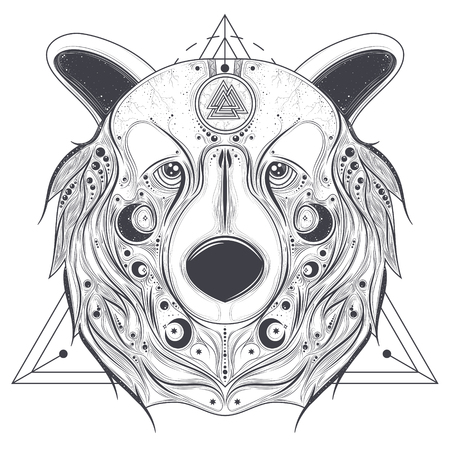 germanic: Grizzly bear head with ancient pagan valknut symbol on forehead line art vector illustration isolated on white background. Totem animal with abstract geometric ornaments on muzzle. Pagan folk tattoo Illustration