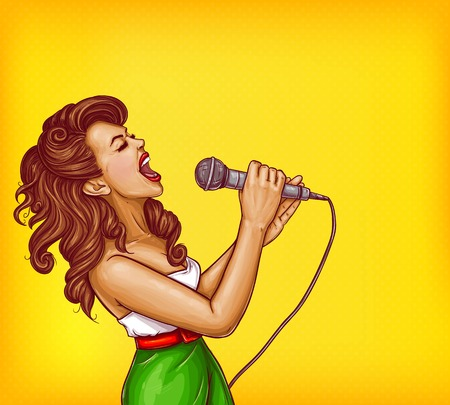 Expressive singing woman with microphone in hands pop art vector illustration with copy space. Karaoke signer, musical band vocalist, pop star pin up portrait for party, concert or musical event ad.