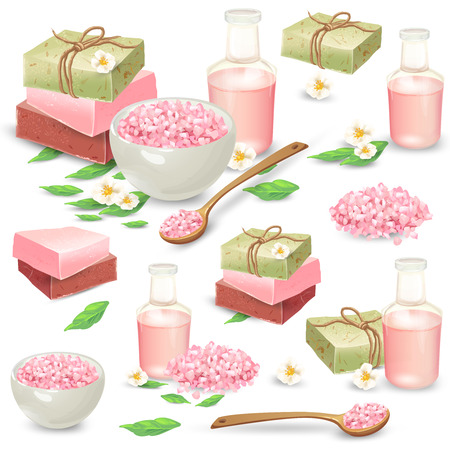 Organic handmade soap packed in craft paper, aromatic salt in bowl and wooden spoon, massage oil in bottle vector illustrations set isolated on white background.
