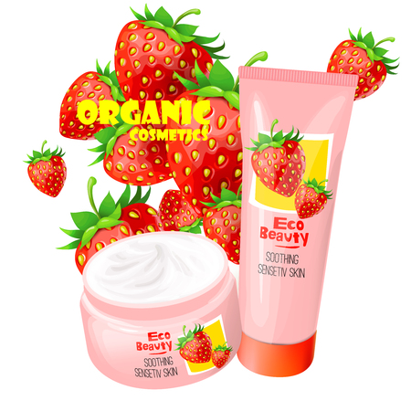 Branded tubes of soothing cream with strawberries for sensitive skin realistic vector illustration isolated on white background. Organic cosmetics concept for womens  body care eco beauty product ad. Illustration