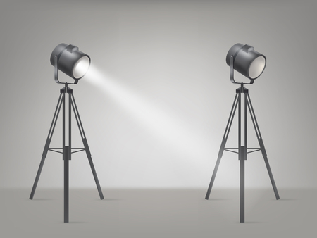 Beaming spotlights on a tripod Illustration