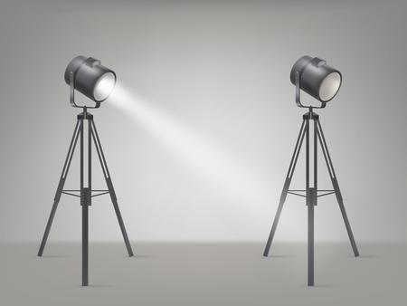Beaming spotlights on a tripod Illustration