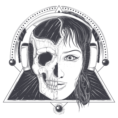 Woman in headphones with half face skull hand drawn vector illustration isolated on white background. Mystic and scary female portrait with geometric ornaments for music poster, tattoo or print Illustration