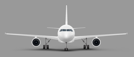 White passenger airplane or personal business jet standing on the ground front view realistic vector illustration. Civil aviation landed aircraft blank template for tourism and travel concept design Иллюстрация