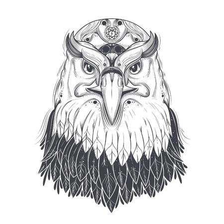 Łysego orła głowa z wskazującą gwiazdą i runiczny błyskawicowego rygla symbol na czoło kreskowej sztuce rysująca wektorowa ilustracja odizolowywająca na białym tle. Drapieżny ptak z pogańskim ornamentem dla tatuażu, druk