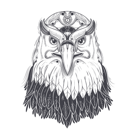 talisman: Bald eagle head with nine-pointed star and runic lightning bolt symbol on forehead line art drawn vector illustration isolated on white background. Predatory bird with pagan ornament for tattoo, print
