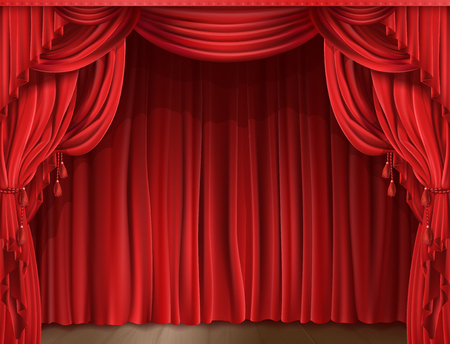 Closed red stage curtain realistic vector illustration. Grand opening concept, performance or event premiere poster, announcement banner template with theater stage Stock Vector - 88197104