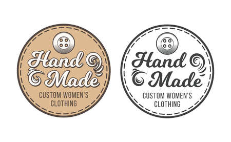 Tailor shop emblem or signage with business information vector illustration in retro style. Custom, individual sewing handiwork small business brand sticker, label or badge design template