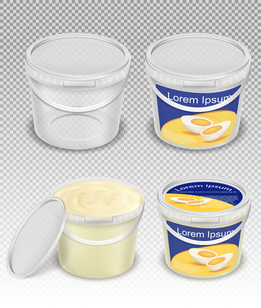 Branded and blank, empty and with mayonnaise, sour, cream, yogurt, cottage cheese, sauce, ice cream plastic buckets realistic vector template set. Food product packaging mockup Illustration