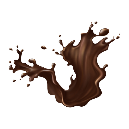 Hot chocolate, cacao or coffee splash with spray realistic vector illustration isolated on white background. Appetizing liquid dessert product splashing design element for sweet beverage or drink ad Stock Photo