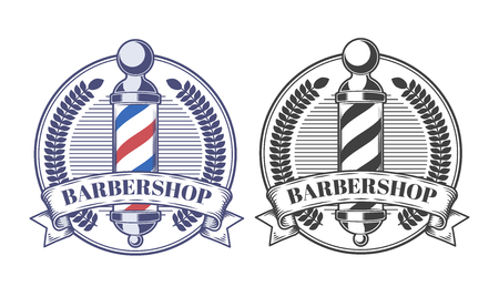 Set of vector illustrations of round colored and black-and-white logos, stickers, labels of barbershop isolated on white background.