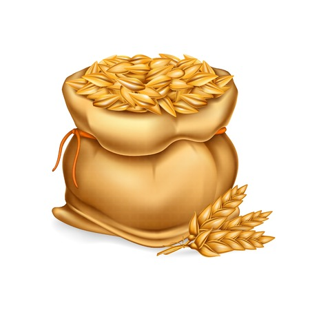 Vector realistic illustration of a bag with wheat, barley and sprigs of ears isolated on white background. Template, element for design.