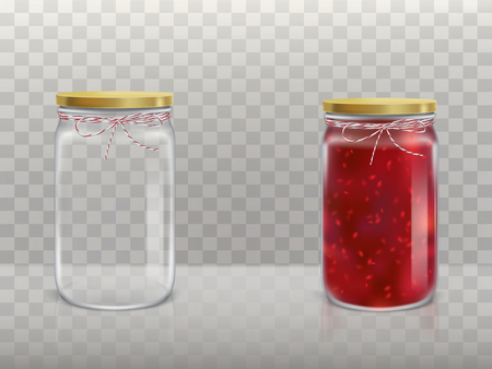 A set of vector illustrations in a realistic style of glass round jars is empty and with raspberry jam covered with a lid and bandaged twine. Template, element for design.