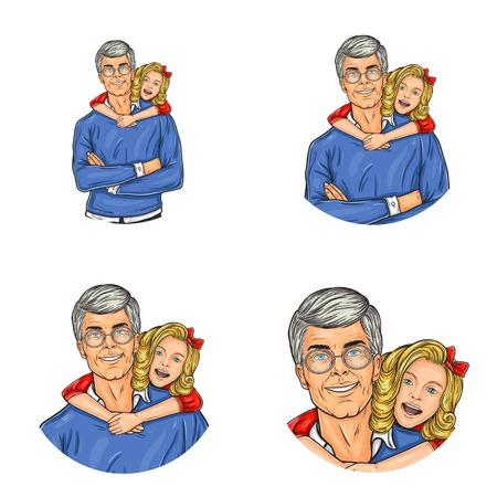 Set of vector pop art round avatar icons for users of social networking, blogs, profile icons. Senior adult man with gray hair and glasses and embracing him little girl, family happiness Illustration
