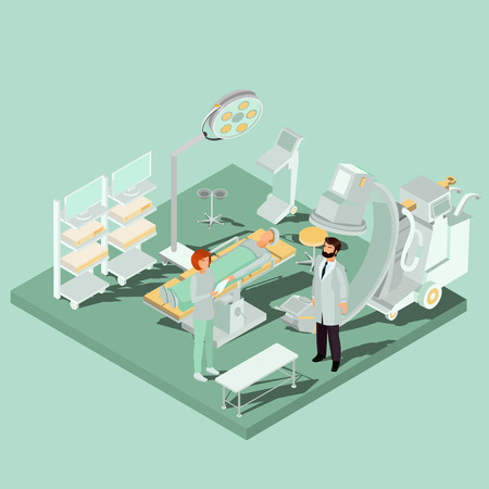 Vector isometric interior of operating theater, operating room with operating table, medical and lighting equipment, surgeon, nurse and patient. Concept of acute surgery, plastic surgery