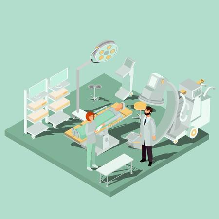 Vector isometrisch binnenland van werkend theater, werkende ruimte met werkende lijst, medisch en verlichtingsmateriaal, chirurg, verpleegster en patiënt. Concept van acute chirurgie, plastische chirurgie