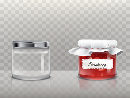 A set of vector illustrations in a realistic style of glass round jars is empty and with a strawberry jam covered with a lid and a white textile. Template, element for design. Ilustração