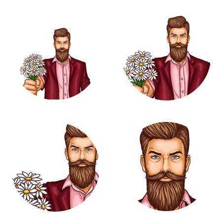 Set of vector pop art round avatar icons for users of social networking, blogs, profile icons. Confident hipster man with a mustache and beard holds a bouquet of flowers in his hand