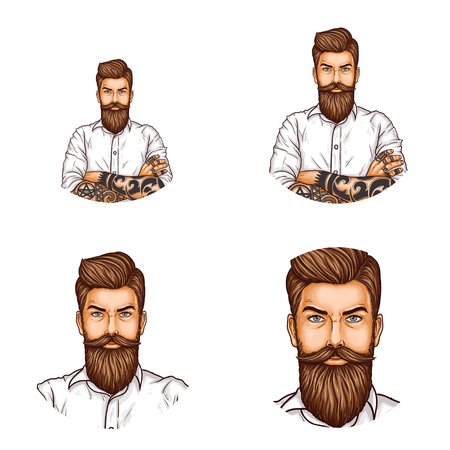 Set of vector pop art round avatar icons for users of social networking, blogs, profile icons. Confident hipster man with a mustache and beard folded his arms on his chest