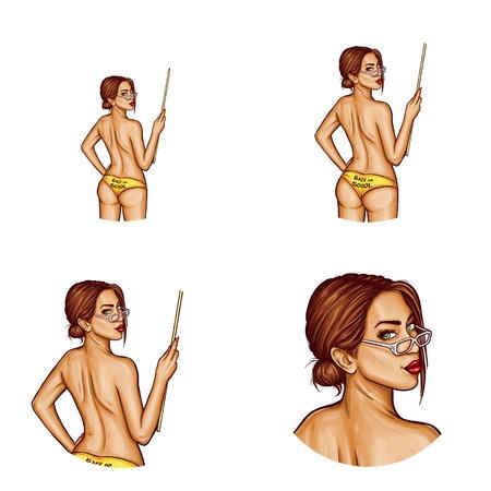 Set of pop art round avatar icons.