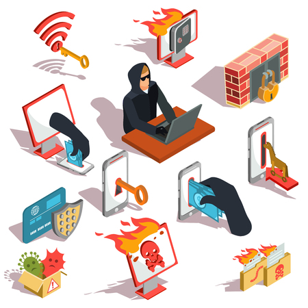 Set of isometric illustrations, hacker icons, computer security breach, information confidentiality, bank account hacking