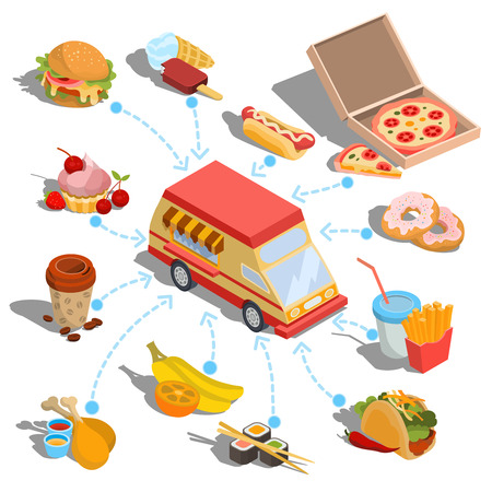 roasted: Set of isometric icons - car fast delivery of food or food truck, hamburger, pizza, ice cream, hot dog, roast chicken, french fries, taco, donuts, coffee, sushi Stock Photo