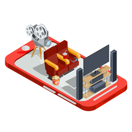 set of isometric illustrations watching a movie in the home, online movie viewing. Design elements