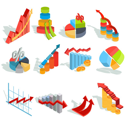 Set of isometric illustrations, infographic icons - graphics, diagrams, histograms, arrows of various types Stock Photo