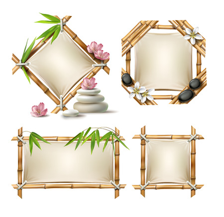 Set of illustrations of bamboo frames of various shapes with paper in realistic style isolated on white
