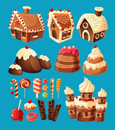 3D beeldverhaalpictogrammen van snoepjespeperkoekhuizen, cakekastelen, chocolade, diverse lollys om uw eigen grafisch ontwerp tot stand te brengen. Ontwerpelementen voor games