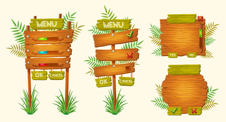 guidepost: Set of cartoon illustrations of wooden signs of various forms standing on the grass. Elements of design for games
