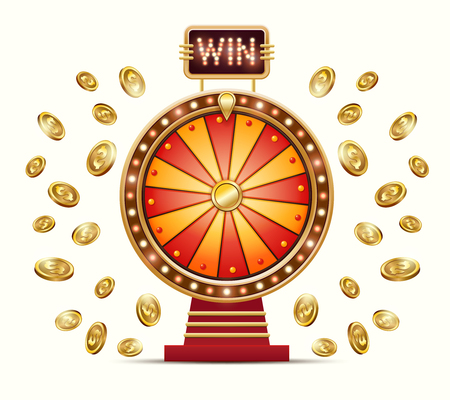 cartoon illustration of a glowing wheel fortune or luck and gold coins scattered in different directions, isolated on a light background