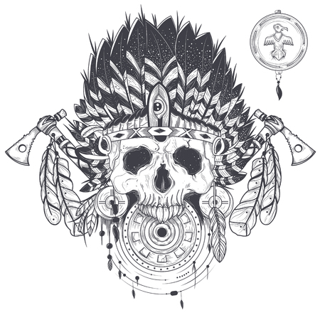 illustration of a template for a tattoo with a human skull in an indian feather hat. Design element, print for T-shirts