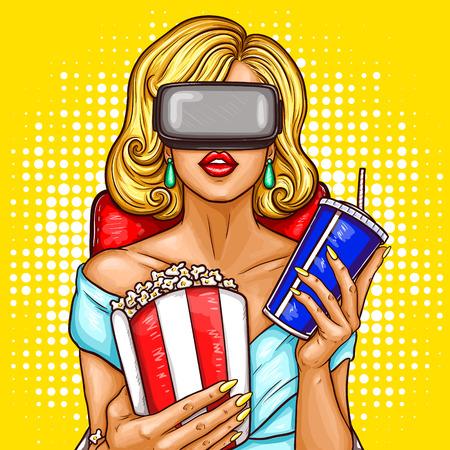 팝 아트 강당에 앉아 및 가상 현실 안경으로 영화를보고 아름 다운 금발 여자의 그림.