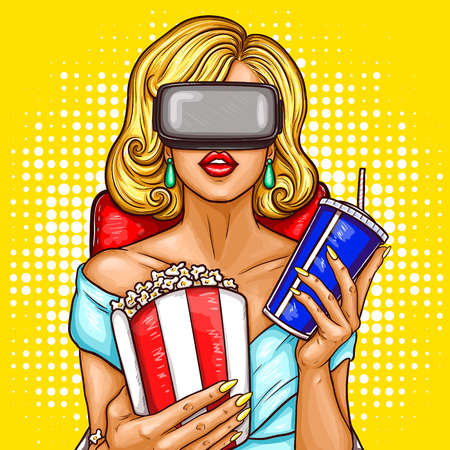 pop art illustration of a beautiful blond woman sitting in the auditorium and watching movie with virtual reality glasses.