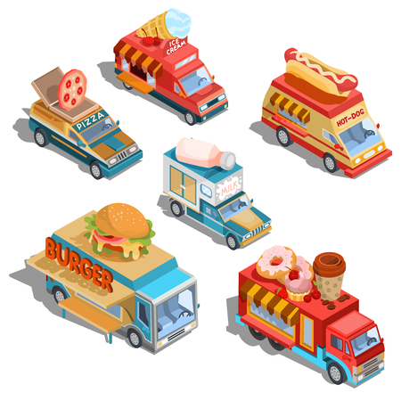 Set of isometric illustrations cars fast delivery of food and food trucks - pizza, ice cream, hot dogs, milk, hamburgers, donuts and coffee