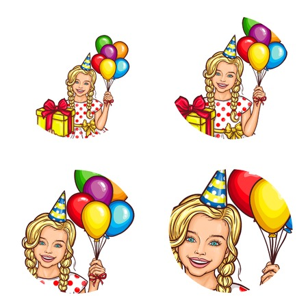 Set of vector pop art round avatar icons for users of social networking, blogs, profile icons. Child, a little blonde girl in a multi-colored cardboard cap and with balloons in her hand