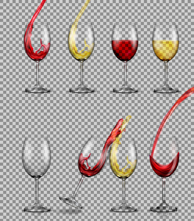 Set of vector illustrations of transparent glass goblets with red and white wine, full, with pouring in them, with a splash of them. Print, template, design element.