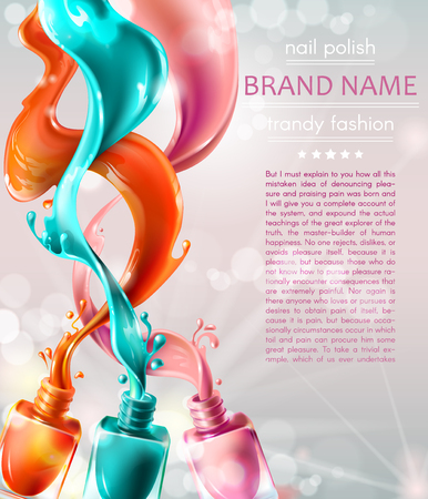 Vector realistic advertising poster for promoting a new trendy product. Open nail lacquer bottles, 3D color nail polish splatter on white glowing background. Cosmetic background, template design Illustration